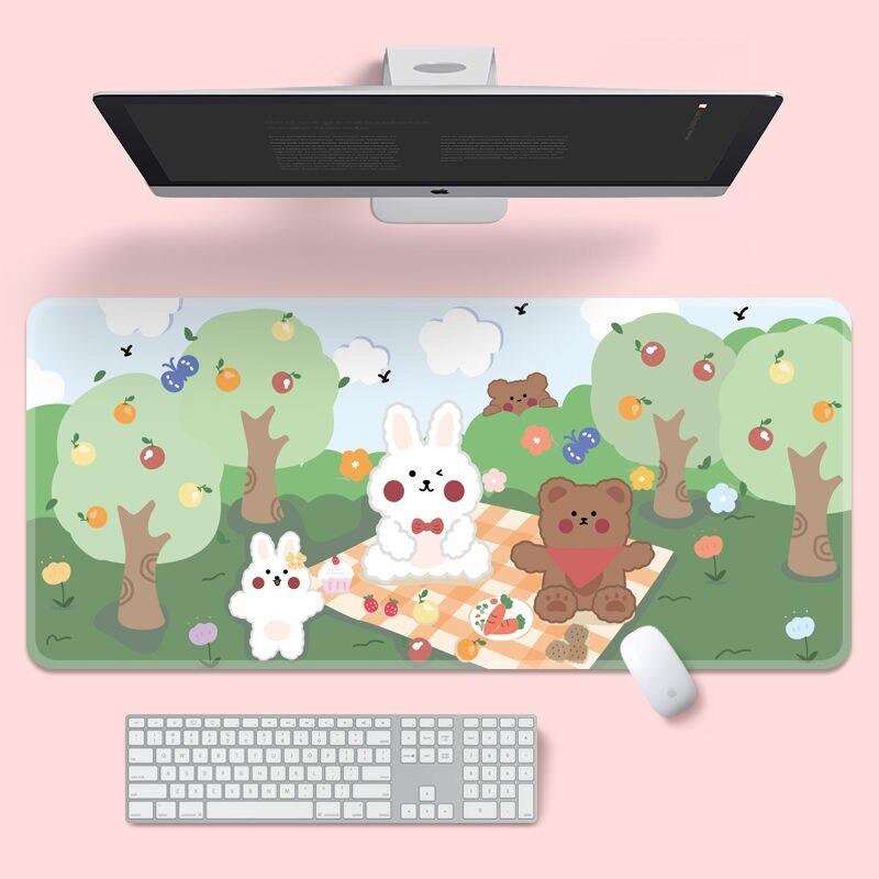 Kawaii Bunny & Bear Picnic Mouse Pad