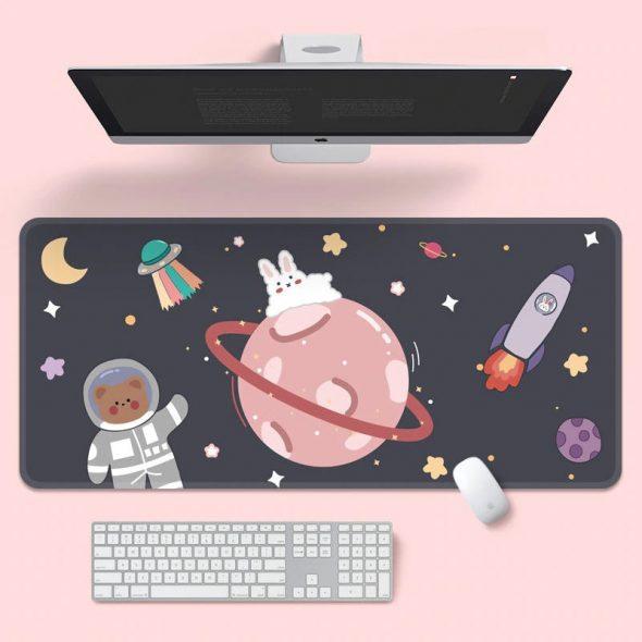 kawaii-bunny-bear-space-adventure-mouse-pad