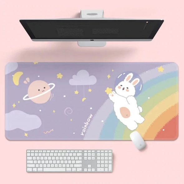 kawaii-rainbow-bunny-mouse-pad