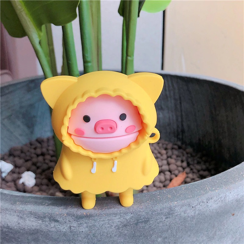Kawaii Raincoat Piggy AirPods Case