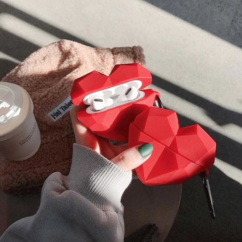 Kawaii Red Heart AirPods Case