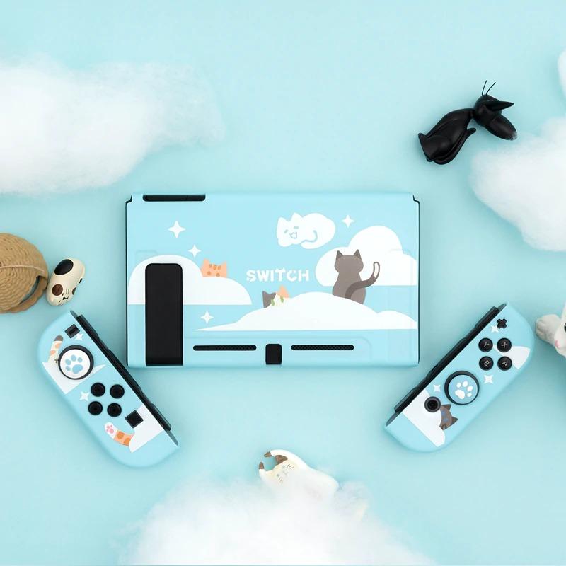 Kawaii Starry Cloud Cat Nintendo Switch Case