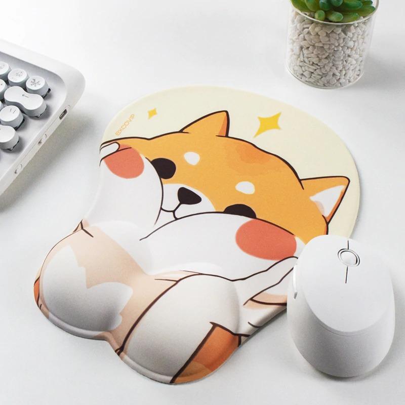 Kawaii Corgi Face Mouse Pad with Wrist Rest