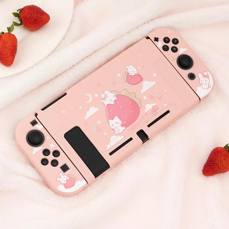 Kawaii Strawberry Bunny Nintendo Switch Case