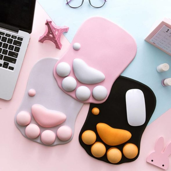 Kawaii Cat Paw Mouse Pad with Wrist Rest